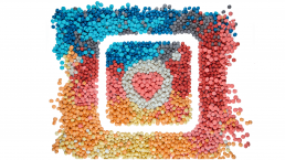 The Instagram Stories logo, made of rainbow colored ping pong balls